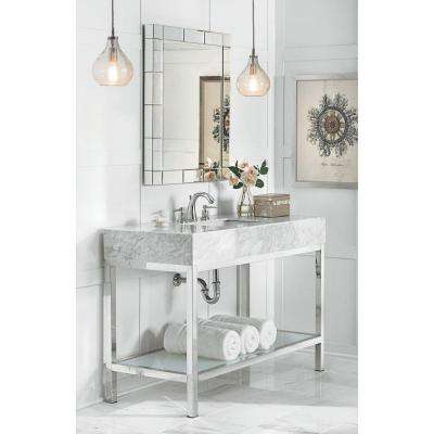 Luna 48 in. W x 22 in. D Vanity in Chrome with Marble Vanity Top in White with White Sink