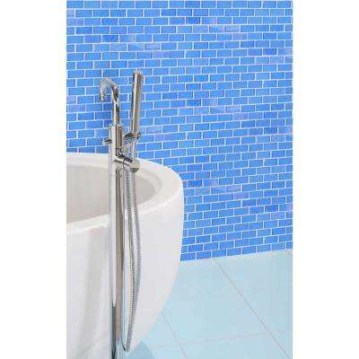 Landscape Mediterranean Blue Linear Mosaic 1 in. x 2 in. Textured Glass Wall Pool and Floor Tile (0.77 Sq. ft.)