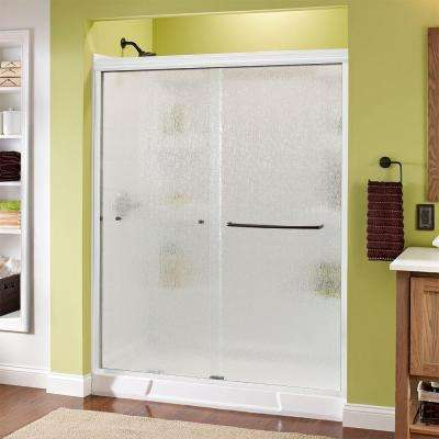 Simplicity 60 in. x 70 in. Semi-Framed Sliding Shower Door in White with Rain Glass and Bronze Hardware