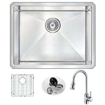 VANGUARD Undermount Stainless Steel 23 in. Single Bowl Kitchen Sink and Faucet Set with Sails Faucet in Polished Chrome