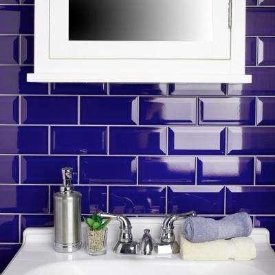 Park Slope Beveled Subway Royal Blue 3 in. x 6 in. Ceramic Wall Tile (36 cases / 690.48 sq. ft. / pallet)