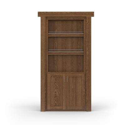 36 in. x 80 in. Flush Mount Assembled Forward Pantry Door Oak Medium Stained Left-Hand Inswing