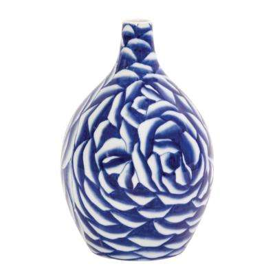 Blue and White Abstract Rose Ceramic Decorative Vase