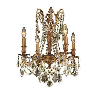 Windsor Collection 4-Light French Gold and Golden Teak Crystal Chandelier