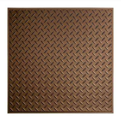Diamond Plate - 2 ft. x 2 ft. Revealed Edge Lay-in Ceiling Tile in Argent Bronze
