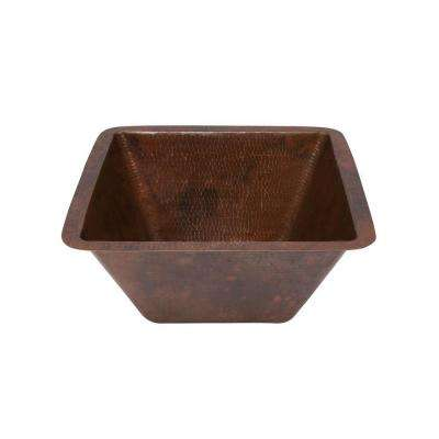 Under-Counter Square Hammered Copper Bathroom Sink in Oil Rubbed Bronze