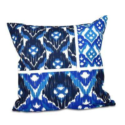 16 in. x 16 in. Free Spirit Navy Blue Geometric Print Pillow