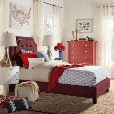 Monarch Merlot Twin Upholstered Bed