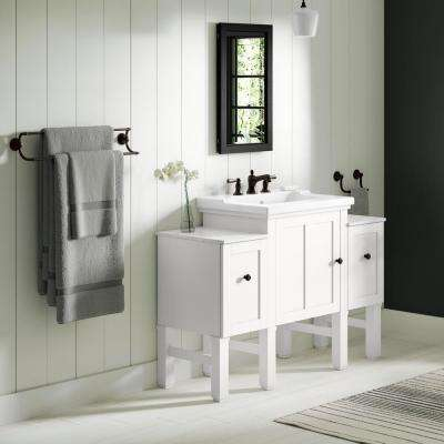 Chambly 48 in. W Vanity in Linen White with Ceramic Vanity Top in White with White Basin (4-piece)