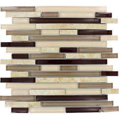 Amalfi Cafe Interlocking 12 in. x 12 in. x 6 mm Glass and Porcelain Mesh-Mounted Mosaic Tile (15 sq. ft. / case)