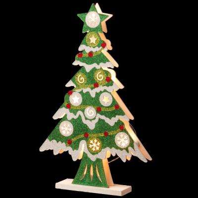 Pre-Lit 17 in. Wooden Christmas Tree
