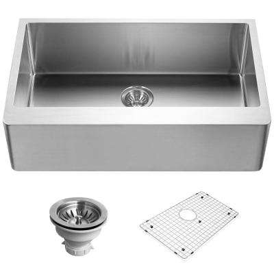 Epicure Series Apron Front Stainless Steel 33 in. Single Basin Kitchen Sink, Satin Brushed