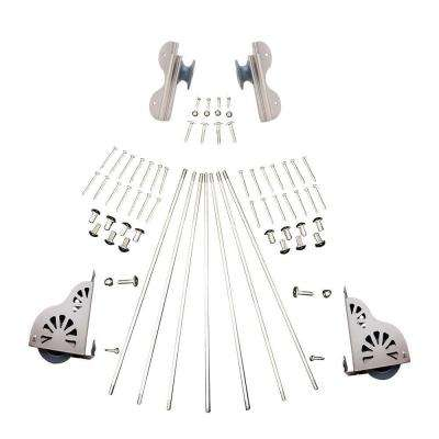 Satin Nickel Braking Rolling Hook Ladder Hardware Kit for 16 in. W Ladders
