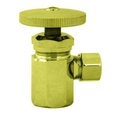 1/2 in. IPS Inlet Angle Stop with Round Handle in Polished Brass-DISCONTINUED