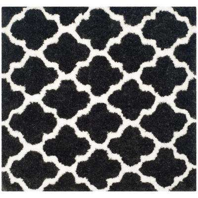 Barcelona Shag Graphite/Ivory 5 ft. x 5 ft. Square Area Rug