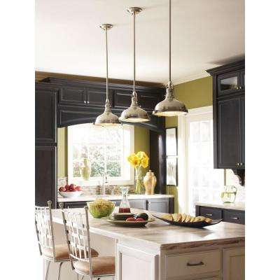 Fresnel Collection 1-Light Brushed Nickel Kitchen Table Pendant with Fresnel Lens