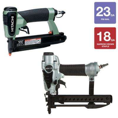 2-Piece 1-3/8 in. x 23-Gauge Pin Nailer and 1/4 in. Narrow Crown Stapler Kit