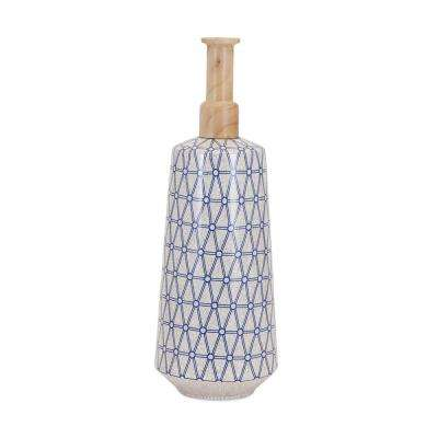 Ripley White and Blue 1-Piece Narrow Vase