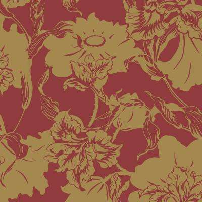 8 in. x 10 in. Red Gold Large Floral Wallpaper Sample