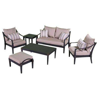 Astoria 6-Piece Love and Club Patio Deep Seating Set with Slate Gray Cushions