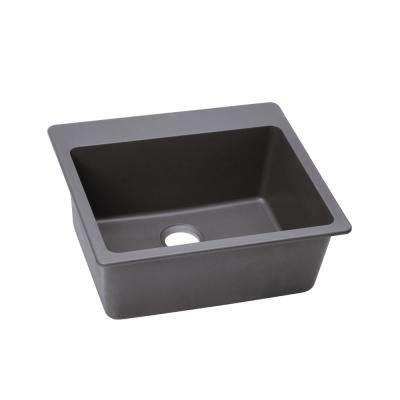 Quartz Classic Top Mount Composite 25 in. Single Bowl Kitchen Sink in Greystone