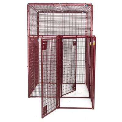Animal House Heavy Duty 60 in. L x 60 in. W x 90 in. H Flat Covered Enclosure with Double Door Security Entrance