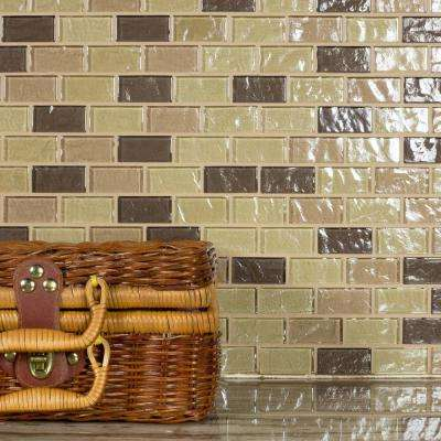 Geo Pupukea Beige Linear Mosaic 1 in. x 2 in. Textured Glass Wall and Pool Tile (0.76 Sq. ft.)