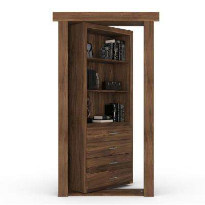 32 in. x 80 in. Flush Mount Assembled Dresser Door Walnut Natural Stained Left-Hand Outswing