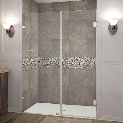 Nautis GS 52 in. x 72 in. Frameless Hinge Shower Door in Stainless Steel with Glass Shelves