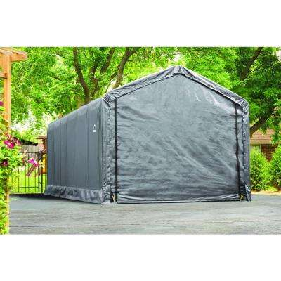 12 ft. W x 30 ft. D x 11 ft. H ShelterTube Steel and Polyethylene Garage without Floor in Grey with Waterproof Fabric