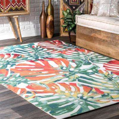 Contemporary Floral Janice Multi Indoor/Outdoor 5 ft. x 8 ft. Area Rug