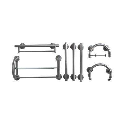7-Piece SafeGrip Grab Bar Accessory Package in Brushed Nickel