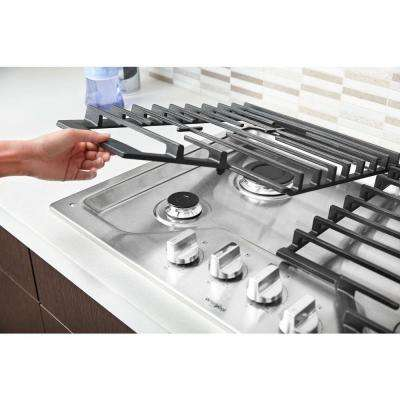 30 in. Gas Cooktop in Stainless Steel with 5 Burners and Griddle