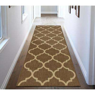 Jardin Collection Brown Trellis Design Indoor/Outdoor 3 ft. x 7 ft. Jute Back Runner Rug