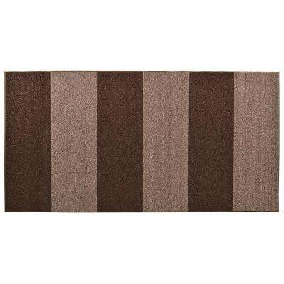 Textura Color Block Brown 36 in. x 96 in. Vinyl-Backed Entrance Mat