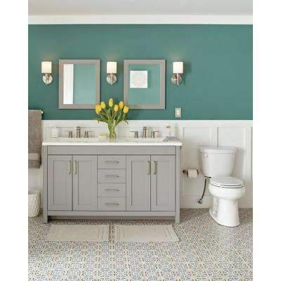 Westcourt 61 in. W Bath Vanity in Sterling Gray with Vanity Top in White with White Sinks and Mirrors