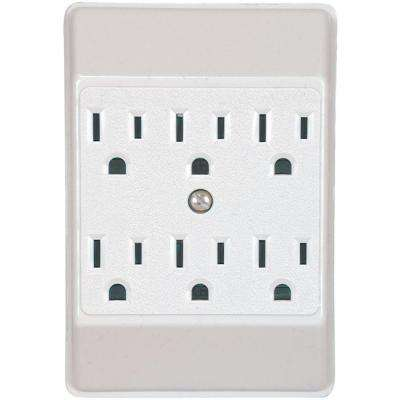 15 Amp 125-Volt 6 Outlet Tap Receptacle, White
