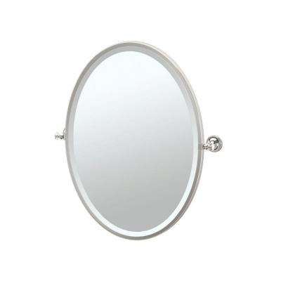 Tavern 24.50 in. x 27.50 in. Framed Single Oval Mirror in Polished Nickel