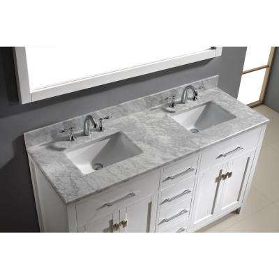 Caroline 60 in. W Bath Vanity in White with Marble Vanity Top in White with Square Basin and Mirror and Faucet