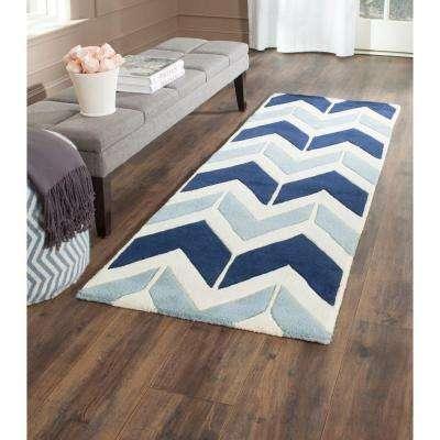 Chatham Dark Blue/Light Blue 2 ft. x 7 ft. Runner Rug