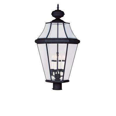 4-Light Outdoor Black Post Head with Clear Beveled Glass