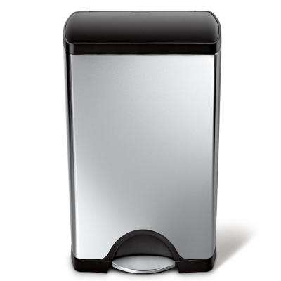 38-Liter Rectangular Brushed Stainless Steel Step-On Trash Can with Black Plastic Lid