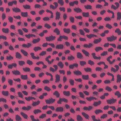 56 sq. ft. Kitty Purry Pink Leopard Print Wallpaper