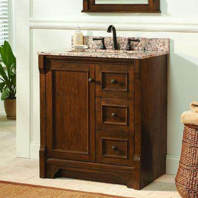 Creedmoor 31 in. W x 22 in. D Vanity in Walnut with Granite Vanity Top in Quadro with White Sink