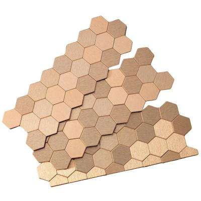 Honeycomb Matted 12 in. x 4 in. Metal Decorative Tile Backsplash in Brushed Champagne (1 sq. ft.)