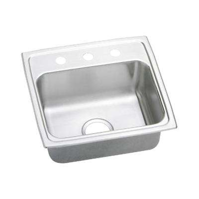Gourmet Top Mount Stainless Steel 19 in. 3-Hole Single Bowl Kitchen Sink