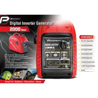 2,000-Watt Portable Gasoline Pull Start Powered Inverter Generator with Quiet Operation and Low THD