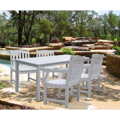 Bradley Acacia White 5-Piece Patio Dining Set with 32 in. W Extension Table and Arched Slat-Back Armchairs
