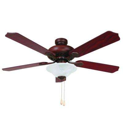 Whitney 52 in. Dark Brown Ceiling Fan with 3-Light and 72 in. Lead Wire