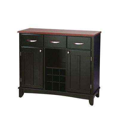 Three-Drawer 41.75 in. W Black Buffet with Cherry Wood Top